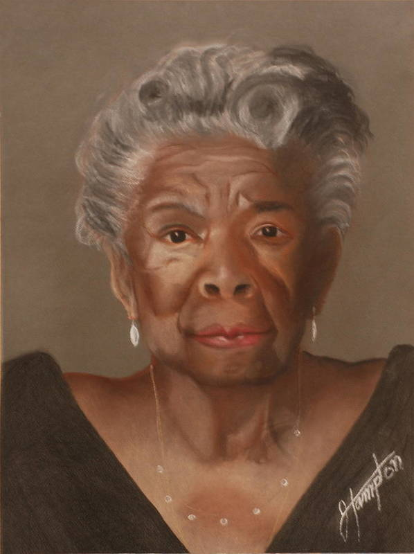 Poet Art Print featuring the drawing Maya Angelou by Jack Hampton