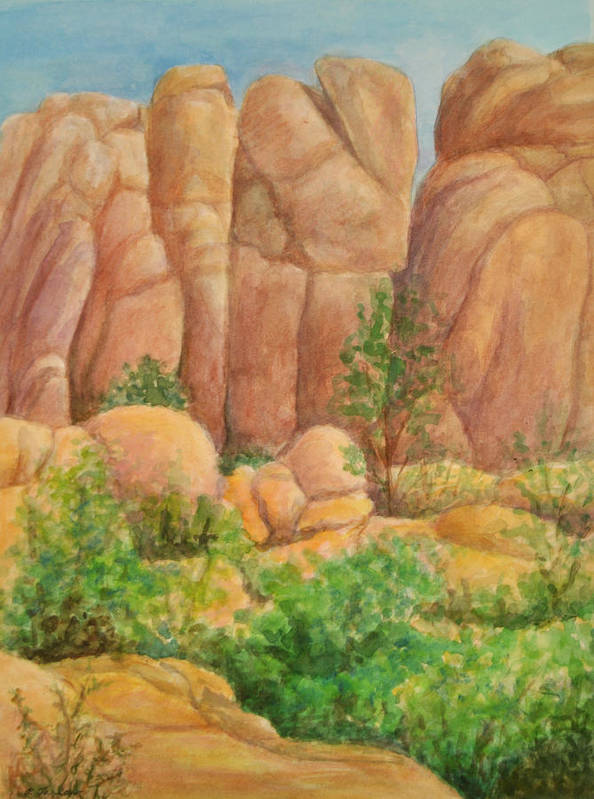 Landscape Art Print featuring the painting Rocks at the Granite Dells by Phyllis Tarlow