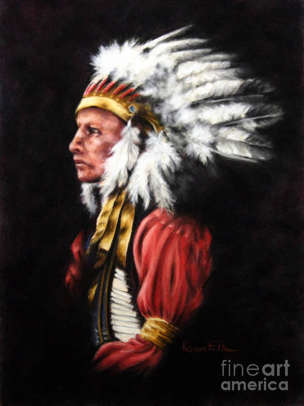 Native American Art Print featuring the pastel The Chief 2 by Karen Elkan