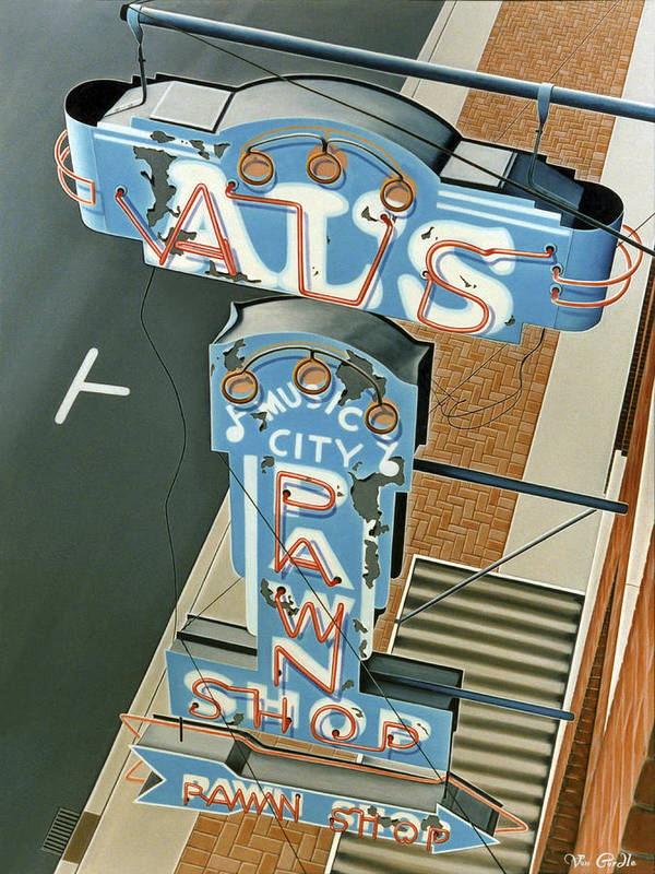 Sign Art Print featuring the painting Al's by Van Cordle