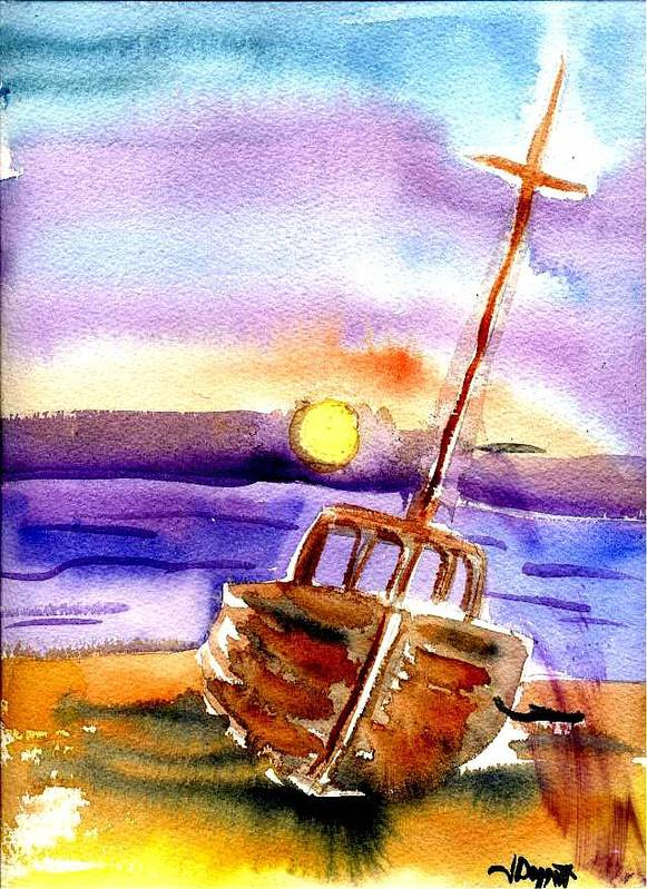 Boat Art Print featuring the painting Boat ashore by Janet Doggett