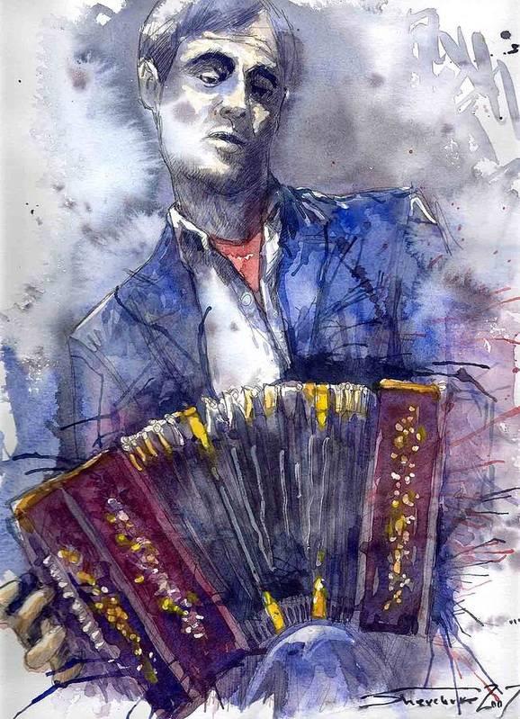 Jazz Art Print featuring the painting Jazz Concertina player by Yuriy Shevchuk