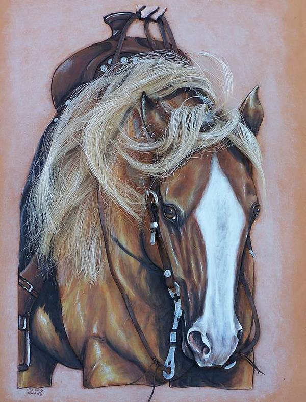 Horses Art Print featuring the painting Lopin along by Lilly King