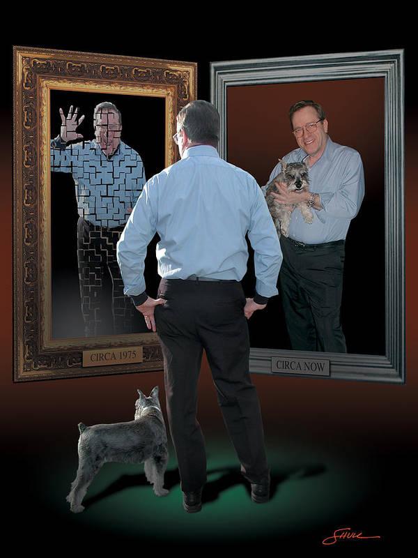 Harold Shull Art Print featuring the digital art Man in the mirror by Harold Shull