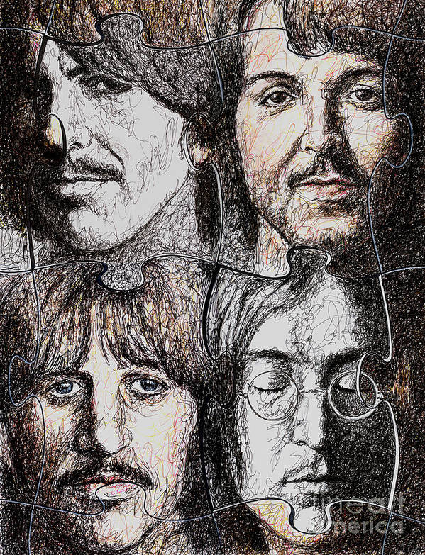 Beatles Art Print featuring the drawing Missing Pieces by Maria Arango