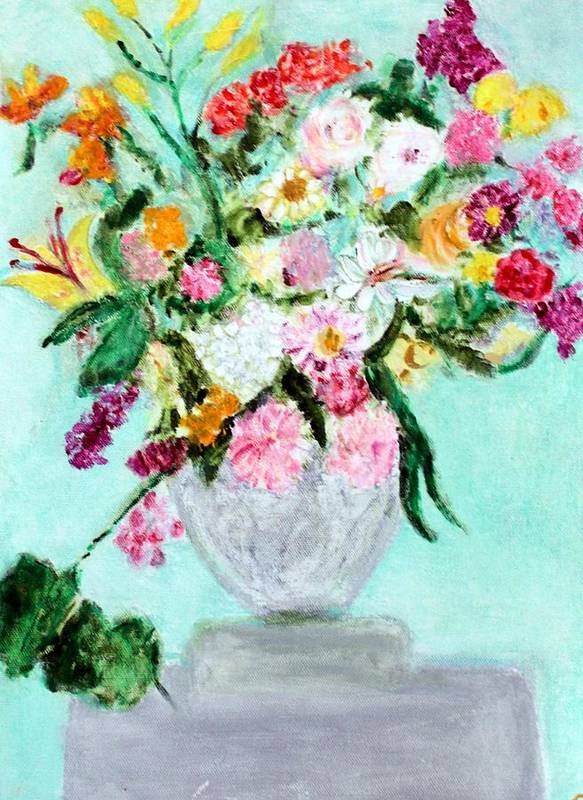 Still Life Art Print featuring the painting Spring Bouquet by Michela Akers