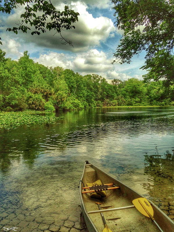 Florida Art Print featuring the digital art Wakiva Springs by Scott Waters