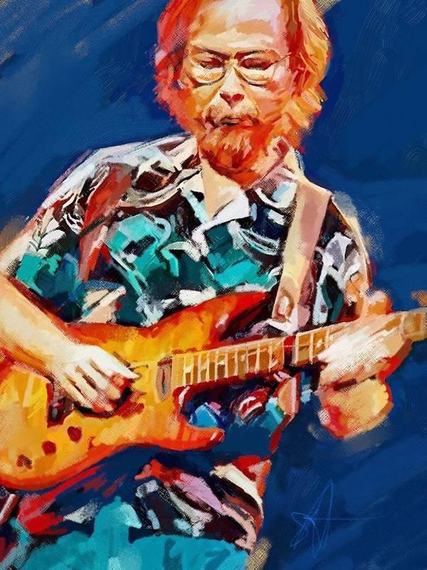 Walter Becker Music Portrait Musician Rock Steeley Dan Art Print featuring the digital art Uncle Walter by Scott Waters
