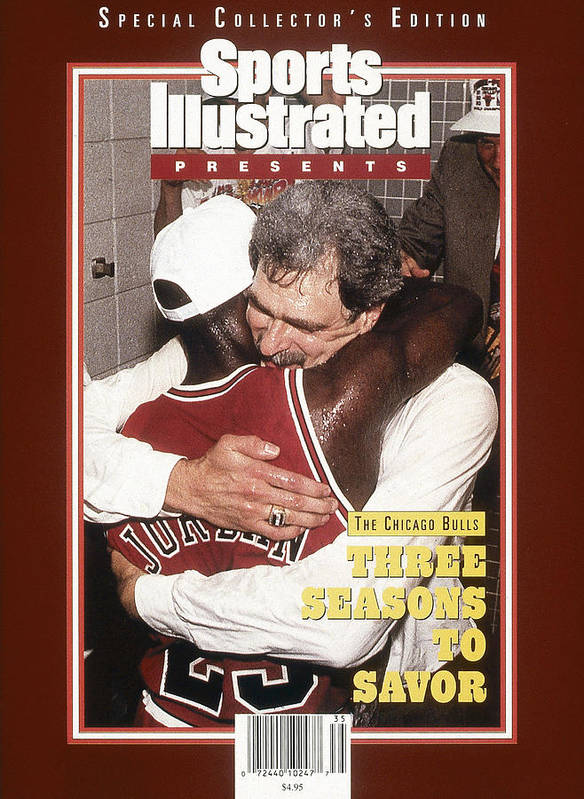 Chicago Bulls Art Print featuring the photograph Chicago Bulls Coach Phil Jackson And Michael Jordan, 1993 Sports Illustrated Cover by Sports Illustrated