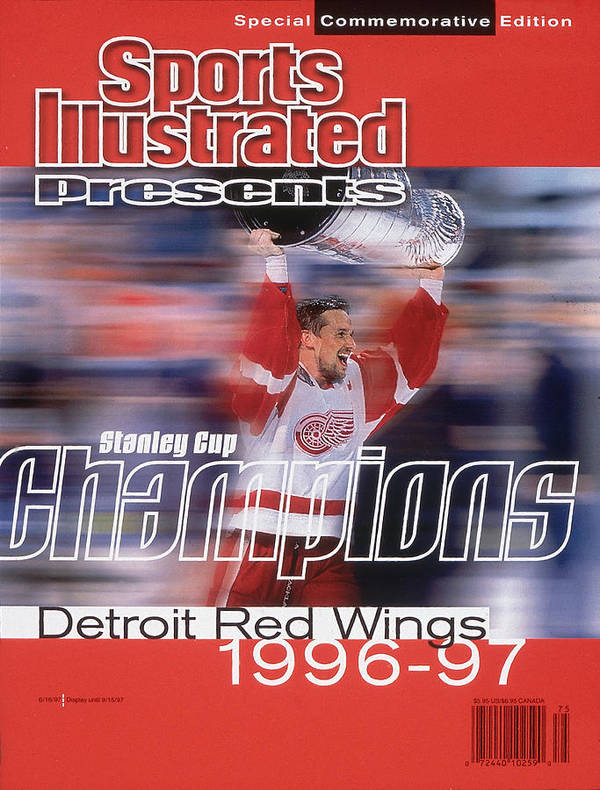 National Hockey League Art Print featuring the photograph Detroit Red Wings Steve Yzerman, 1997 Nhl Stanley Cup Sports Illustrated Cover by Sports Illustrated