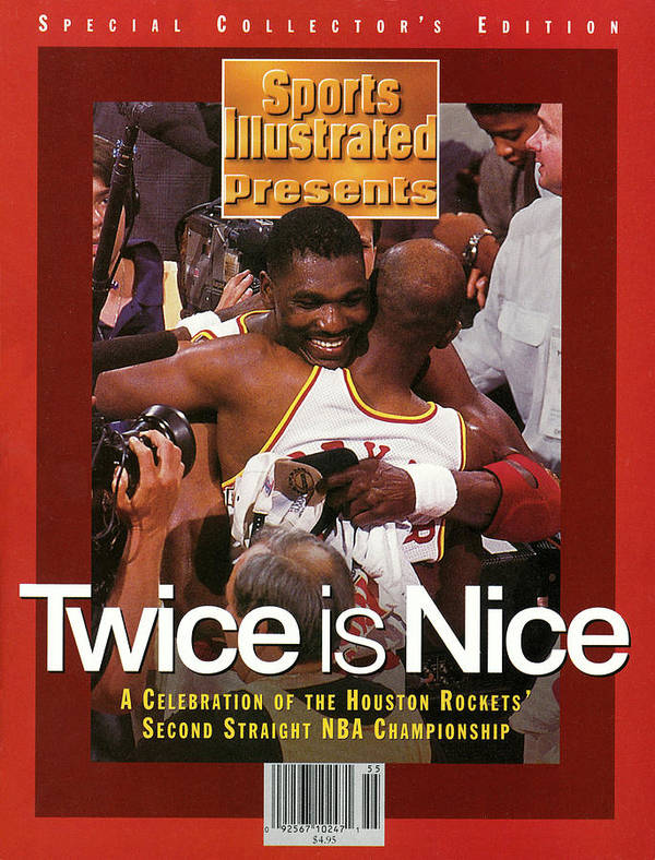 Playoffs Art Print featuring the photograph Houston Rockets Hakeem Olajuwon And Clyde Drexler, 1995 Nba Sports Illustrated Cover by Sports Illustrated