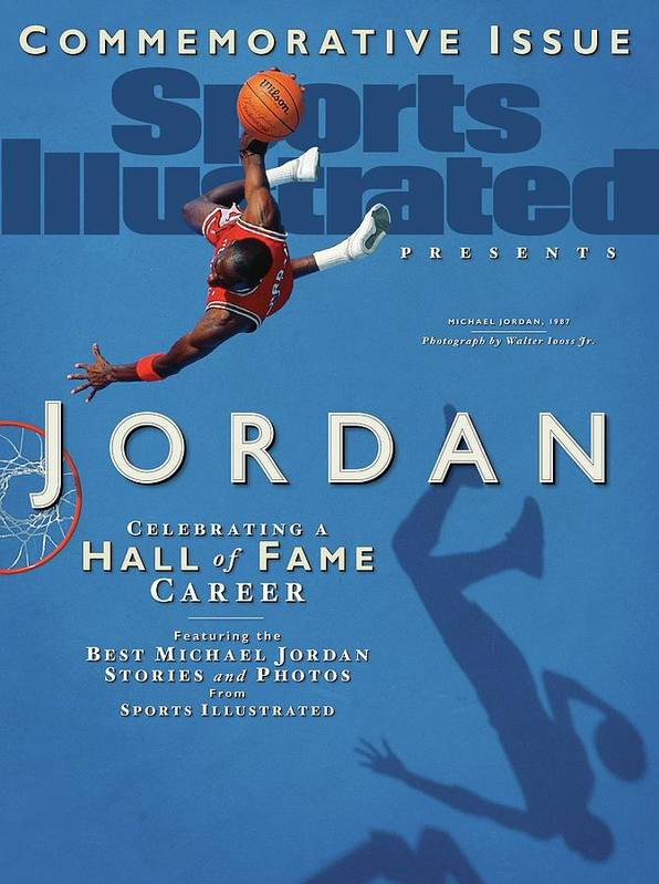 1980-1989 Art Print featuring the photograph Jordan Celebrating A Hall Of Fame Career Sports Illustrated Cover by Sports Illustrated