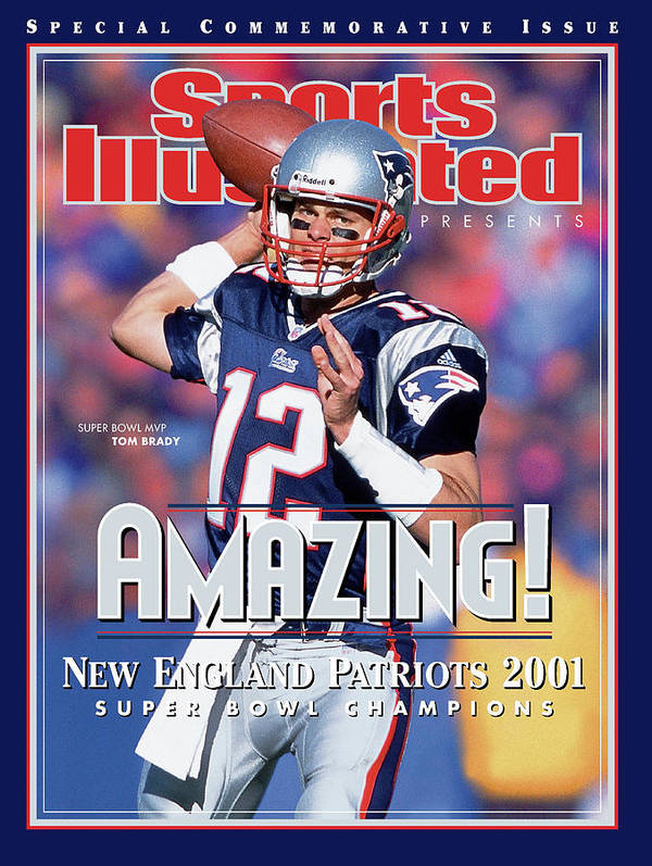 New England Patriots Art Print featuring the photograph New England Patriots Qb Tom Brady, Super Bowl Xxxvi Sports Illustrated Cover by Sports Illustrated