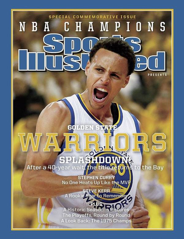 Playoffs Art Print featuring the photograph Splashdown Golden State Warriors 2015 Nba Champions Sports Illustrated Cover by Sports Illustrated