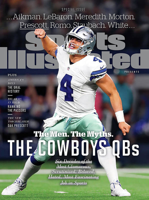 Playoffs Art Print featuring the photograph The Men. The Myths. The Cowboys Qbs. Sports Illustrated Cover by Sports Illustrated