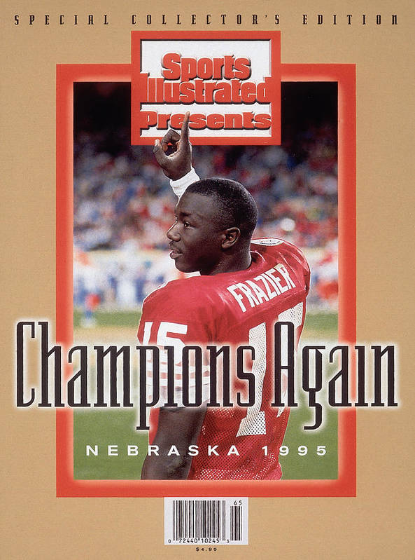 Celebration Art Print featuring the photograph University Of Nebraska Qb Tommie Frazier, 1996 Ibm Fiesta Sports Illustrated Cover by Sports Illustrated