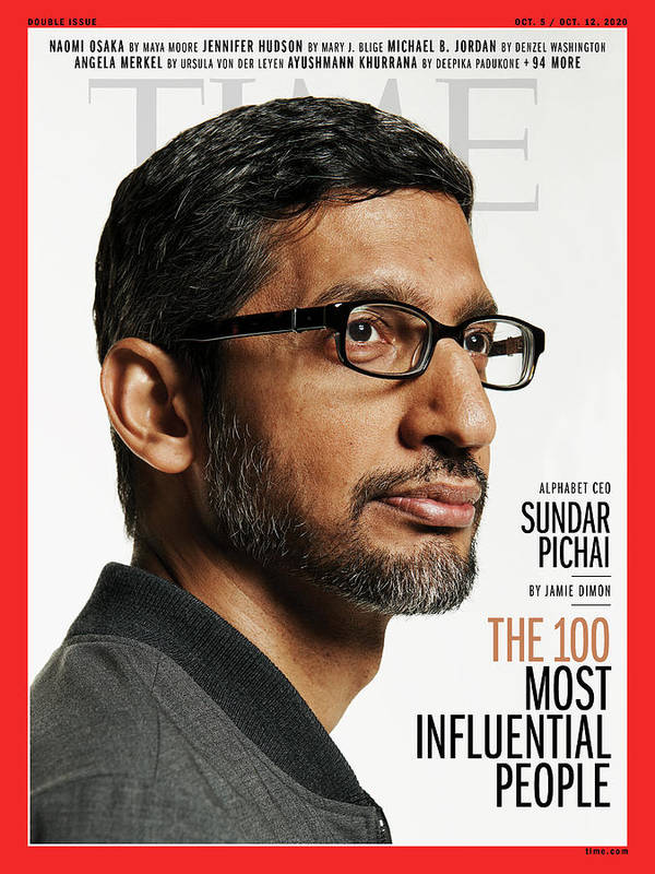 2020 Time 100 Most Influential People Art Print featuring the photograph TIME 100 - Sundar Pichai by Photograph by Paola Kudacki for TIME