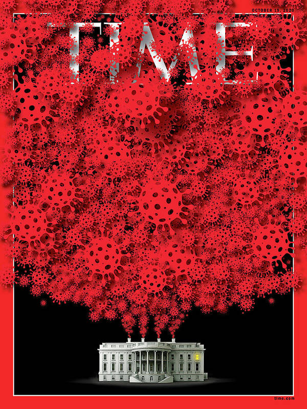 President Donald Trump Art Print featuring the photograph Trump Covid White House by Time Illustration - viral cell icon - bgblue Getty Image