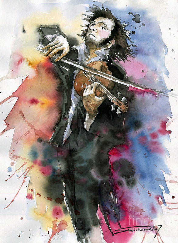 Music Art Print featuring the painting Violine player. by Yuriy Shevchuk