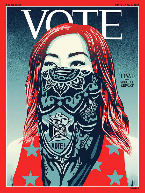 2020 Us Presidential Election Art Print featuring the photograph Vote 2020 by Illustration by Shepard Fairey for TIME