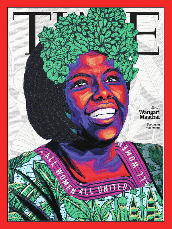 Time Art Print featuring the photograph Wangari Maathai, 2001 by Art by Bisa Butler for TIME