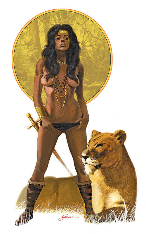 Figure Art Print featuring the painting Jungle Girl by Harold Shull