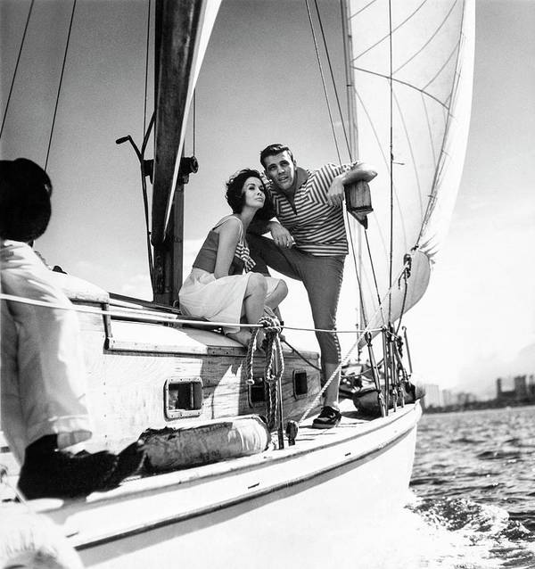 Outdoors Art Print featuring the photograph Models On A Sailboat by Richard Waite
