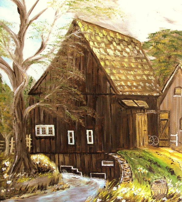Mill Art Print featuring the painting Old mill by Kenneth LePoidevin