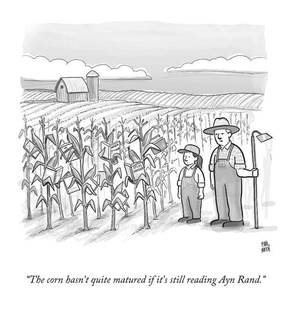 Corn Stalks Art Print featuring the drawing A Farmer And His Daughter Look At Cornstalks Who by Paul Noth