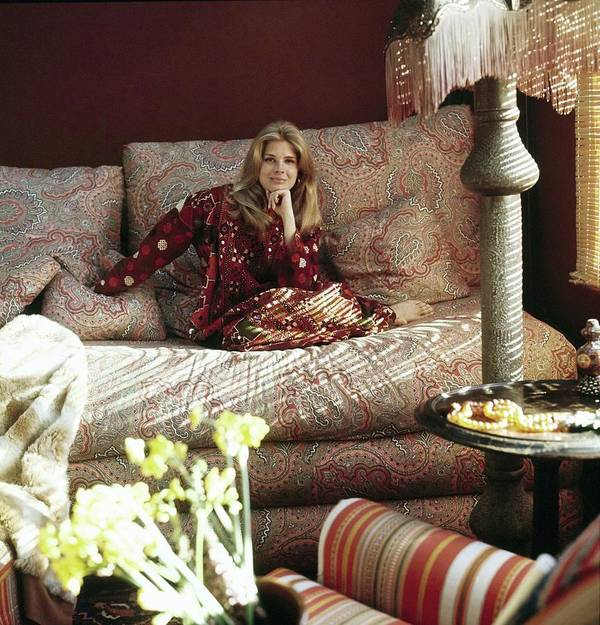 Home Art Print featuring the photograph Candace Bergen In Caftan by Henry Clarke