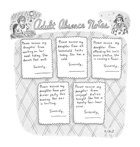 Adults Art Print featuring the drawing Captionless: Adult Absence Notes by Roz Chast