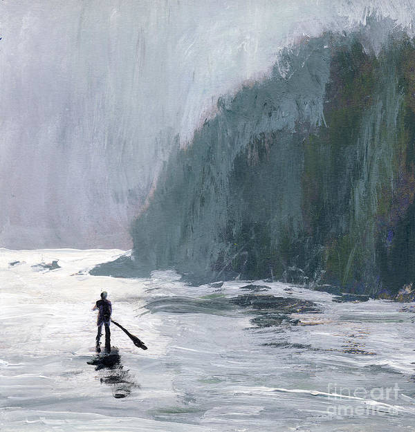 California Art Print featuring the painting Catalina Paddle Board by Randy Sprout