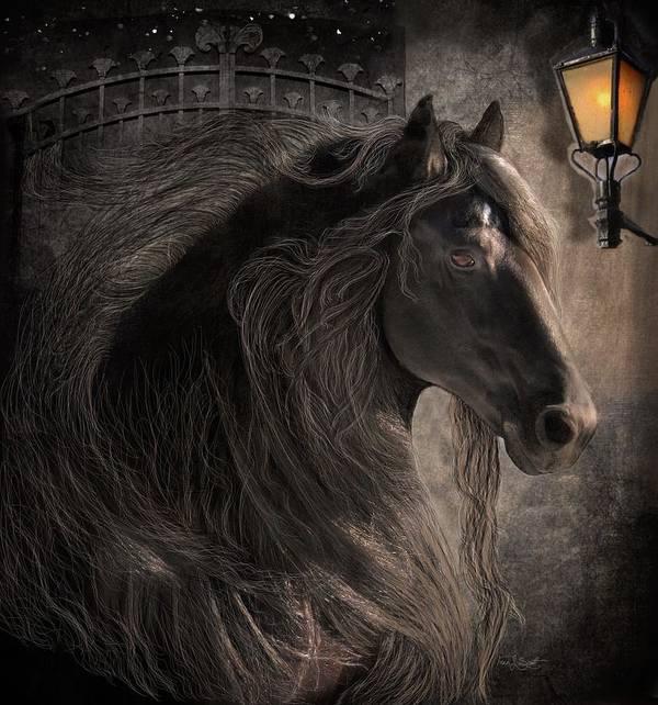 Friesian Horses Art Print featuring the digital art Friesian Glow by Fran J Scott