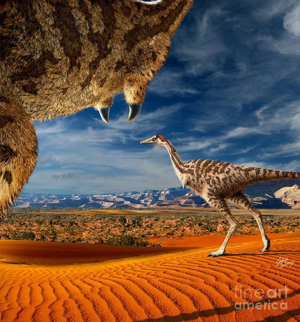 Dinosaur Digital Art Art Print featuring the digital art Linhenykus by Julius Csotonyi