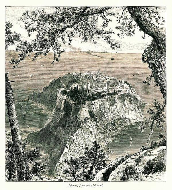 Scenics Art Print featuring the digital art Monaco I Antique European Illustrations by Nicoolay
