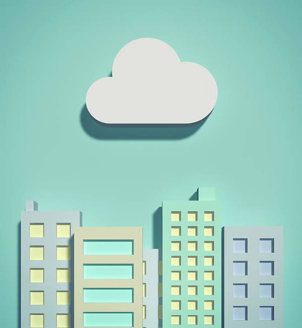 White Background Art Print featuring the digital art The Cloud Network And Office Buildings by Yagi Studio