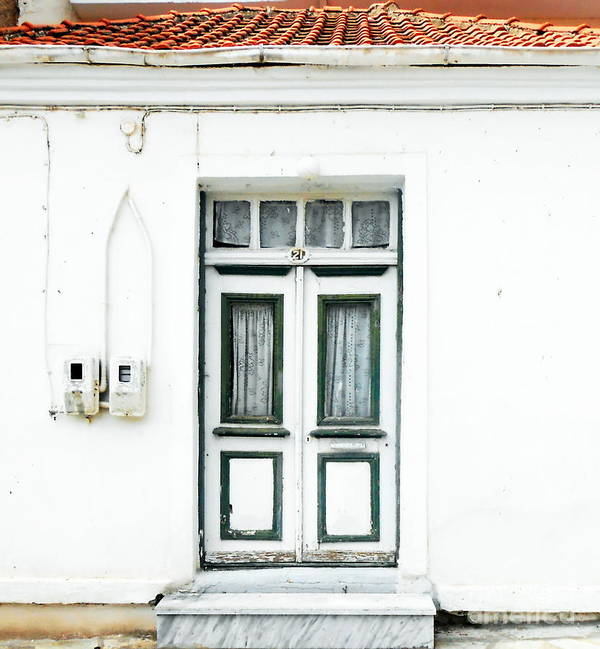 Door Art Print featuring the photograph White And Green Door by Ioanna Papanikolaou