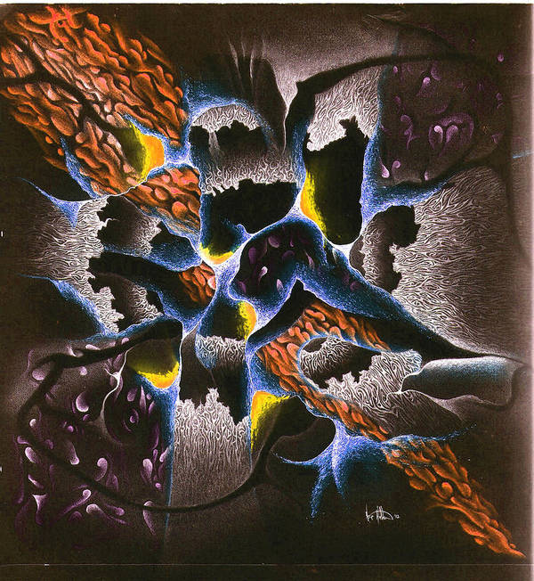 Abstract Art Print featuring the mixed media The Shadow Stone by Nathaniel Hoffman