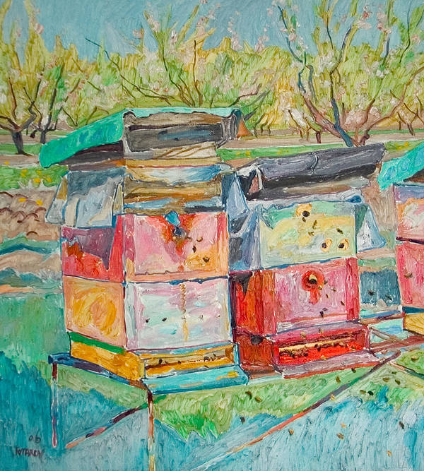 Landscape Art Print featuring the painting Beehives in orchard by Vitali Komarov