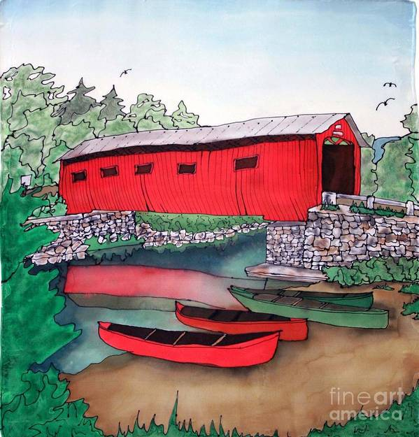 Covered Bridge Art Print featuring the painting Covered Bridge and Canoes by Linda Marcille