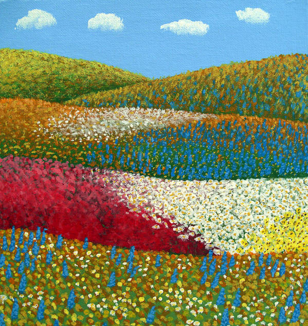 Landscape Painting Art Print featuring the painting Fields of Flowers by Frederic Kohli