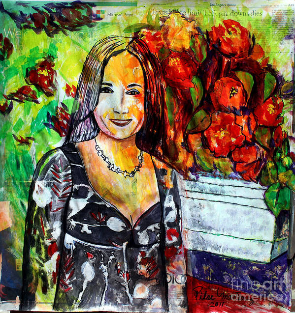 Cousin Art Print featuring the painting My Cousin Regina by Pilar Martinez-Byrne