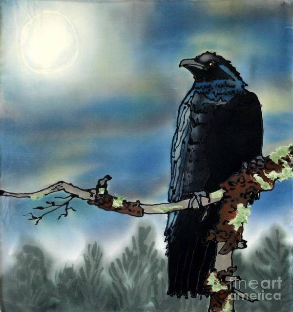 Silk Art Print featuring the painting Raven Moon by Linda Marcille