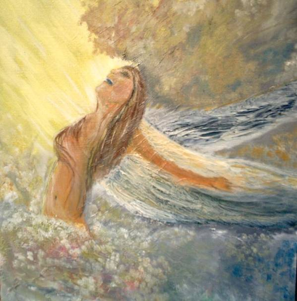 She Reaches The Top Throws Back Her Wings And Sings Art Print featuring the painting Storm Song by J Bauer