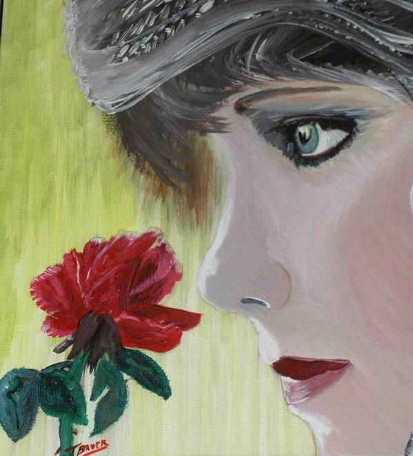 Romance Art Print featuring the painting Wedding Rose by J Bauer
