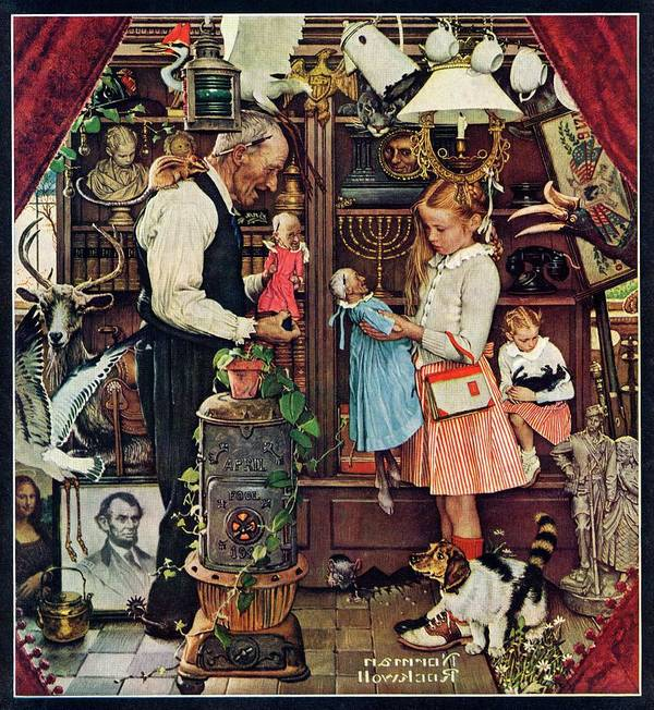 Antiques Art Print featuring the drawing April Fool, 1948 by Norman Rockwell