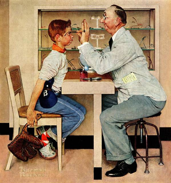 Boys Art Print featuring the drawing At The Optometrist by Norman Rockwell