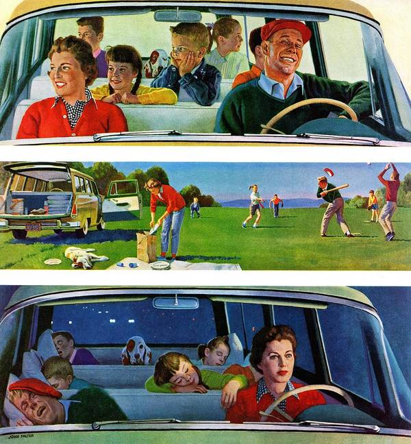 Automobiles Art Print featuring the drawing Before, During & After Picnic by John Falter