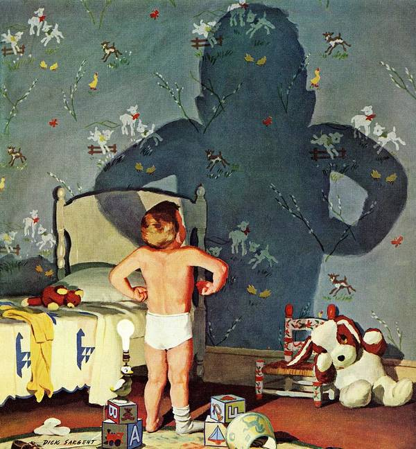 Boys Art Print featuring the drawing Big Shadow, Little Boy by Richard Sargent