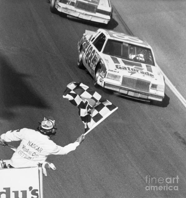 1980-1989 Art Print featuring the photograph Bobby Allison Finishing Daytona 500 by Bettmann
